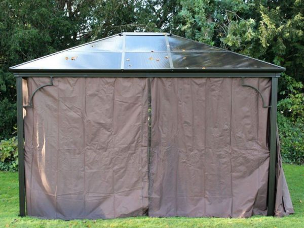 Karoo Solid Roof Gazebo Square 3m x 3m curtains closed front view